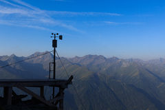 Weather station and mountain panorama, Hohe Tauern Alps, Austria Royalty Free Stock Images