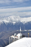 Weather station on the mountain peak Rosa Khutor, Sochi, Russia Royalty Free Stock Image
