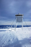 Weather station in winter Stock Photo