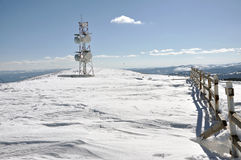 Weather station at winter in the mountains Stock Image