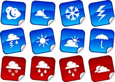 Weather stickers. Royalty Free Stock Image