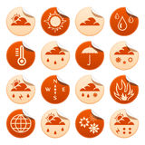 Weather stickers. Weather symbols on round stickers Royalty Free Stock Images