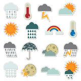 Weather stickers. Collection of stickers - weather icons Stock Image