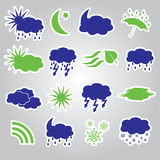 Weather stickers icons set eps10 Stock Photography