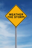 Weather the Storm. A conceptual road sign indicating Weather the Storm Stock Image
