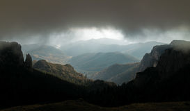 Weather with storm and fog in mountains Royalty Free Stock Photography