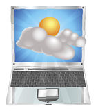 Weather sun and cloud icon  laptop concept Stock Photos