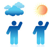 Weather sunny and cloudy illustration Stock Image
