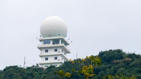Weather surveillance radar or Doppler weather radar located on the top of the hill stock photos