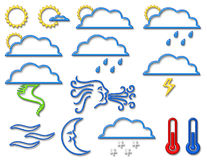 Weather Symbol Collection in Neon Stock Image