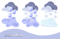 Weather symbol snow, rain, cloud Royalty Free Stock Photos
