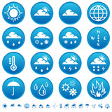 Weather symbols. On round buttons Stock Photography