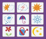 Weather symbols. Vector drawing of the funny weather symbols Stock Photo