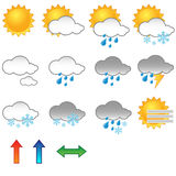 Weather symbols. Illustration of a set of weather symbols/icons.EPS file available Royalty Free Stock Images