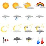 Weather symbols. Set of detailed weather symbols Royalty Free Stock Image