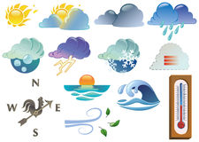 Weather symbols. Coloured only with linear gradients. Each symbol is grouped and easily selectable Stock Photo