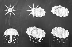 Weather symbols on blackboard Royalty Free Stock Photography
