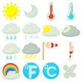 Weather symbols icons set, cartoon style Royalty Free Stock Images