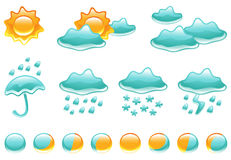 Weather Symbols and Moon Phases royalty free stock image