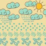 Weather symbols seamless pattern Royalty Free Stock Photos