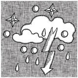 Weather symbols woodcut Royalty Free Stock Photo