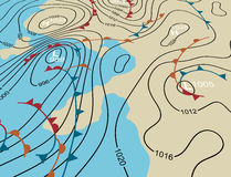 Weather system map. Editable vector illustration of an angled generic weather system map Royalty Free Stock Images