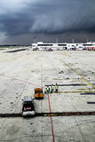 Weather system rolling in at an airport, Bangkok, Thailand. A weather system rolling in at an airport, Bangkok, Thailand Royalty Free Stock Photos