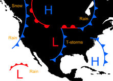 Weather systems. With low and high pressure and weather forecast Stock Photo