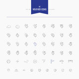 Weather and temperature icons set. Thin and line icons set, flat Stock Photo