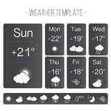 Weather template. With forecast icons. Can be used for mobile apps, presentations, icons etc Stock Image