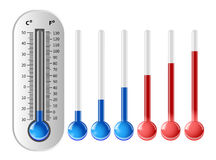 Weather thermometer with different temperature indicators stock illustration