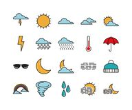 Set of 20 weather line icons. Weather thin line icons, forecast vector illustration Royalty Free Stock Photography