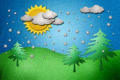 Weather and tree  papercraft Royalty Free Stock Photo