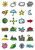 Weather and ttavel icons Stock Image