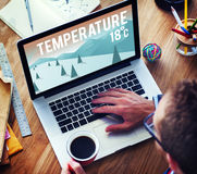 Weather Update Temperature Forecast News Meteorology Concept. People Checking Weather Update Temperature Forecast News Meteorology Royalty Free Stock Images