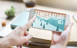Weather Update Temperature Forecast News Meteorology Concept. People Using Technology Checking Weather Temperature Forecast Royalty Free Stock Image