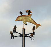 Weather Vane 3. Weather Vane with dolphin, with 6 starlings perched upon it, against an overcast sky royalty free stock photos