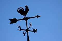Weather vane. Silhouette with a blue sky background royalty free stock photography