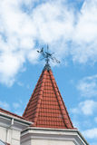 Weather vane on roof Royalty Free Stock Image