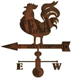 Weather Vane Rustic Texas old grunge Lone Star State. Chicken East West Wind weathered rusted metal stock photography