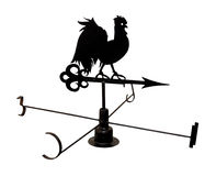 Weather vane. Silhouette of weather vane rooster isolated with clipping path royalty free stock photos