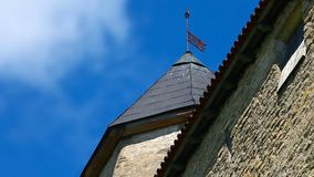 Weather vane on the spire. Of the old fortress tower stock video