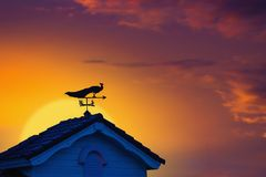 Weather vane at sunrise with bright colors in clouds for early m. Orning wake up royalty free stock photography