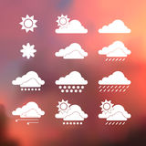 Weather Vector Icons on blurred background. Isolated from background. Each icon in separately folder. Stock Photography