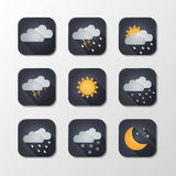 Weather vector icons. Flat design.  illustration Stock Images