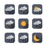 Weather vector icons. Flat design. Isolated illustration Stock Images