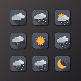 Weather vector icons. Flat design. Perfect for your application. Stock Photos