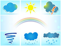 Weather vector icons set. With sun, clouds, rain, tornado and snow royalty free illustration