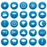 Weather vector icons set blue, simple style. Weather icons set blue. Simple illustration of 25 weather vector icons for web Royalty Free Stock Photography