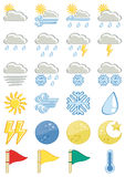 Weather vector iconset. Cartoon style Royalty Free Stock Image